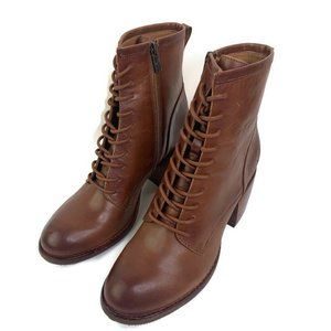 Patricia Nash Brown Leather Lace Up Boots Booties